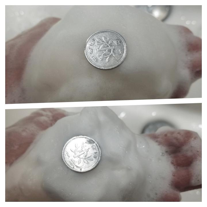 ヴァーナルアンクソープと牛乳石鹸砂糖入りの泡の弾力比較