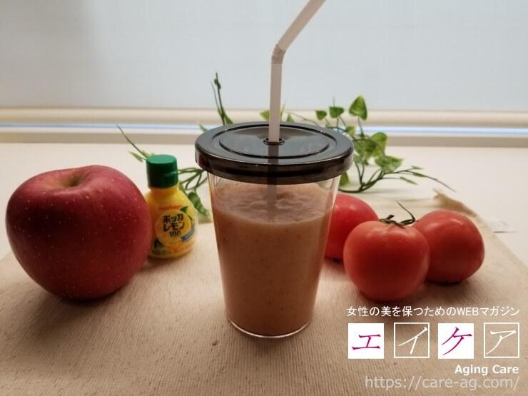 朝から簡単に栄養素を摂取できるりんごトマトスムージーレシピ